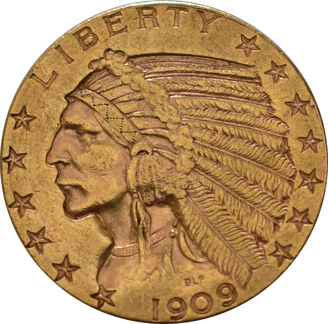 American Gold Half Eagle 5 Indian Head 695