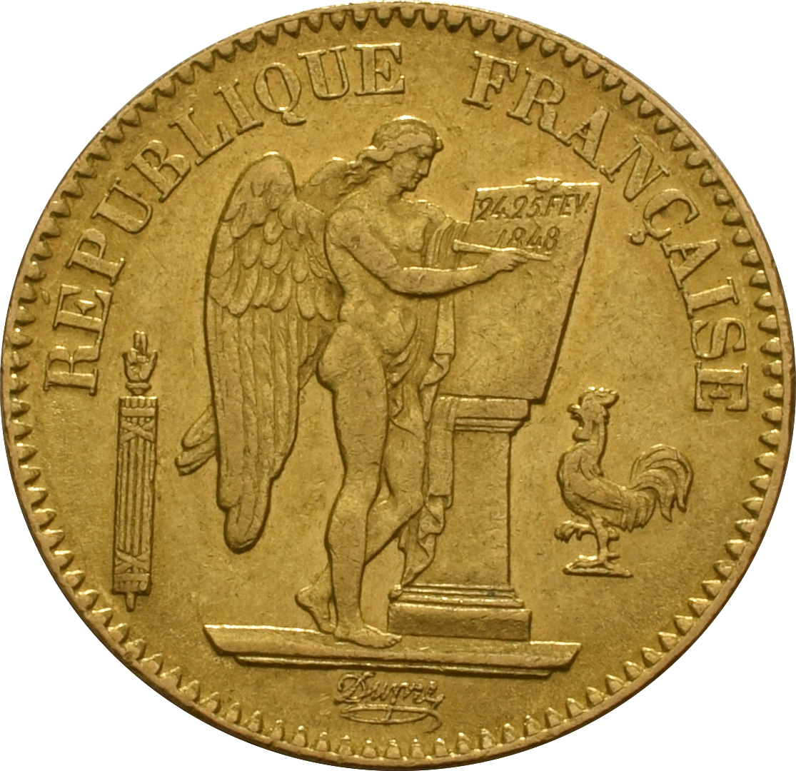 1848 20 French Francs Guardian Angel 558