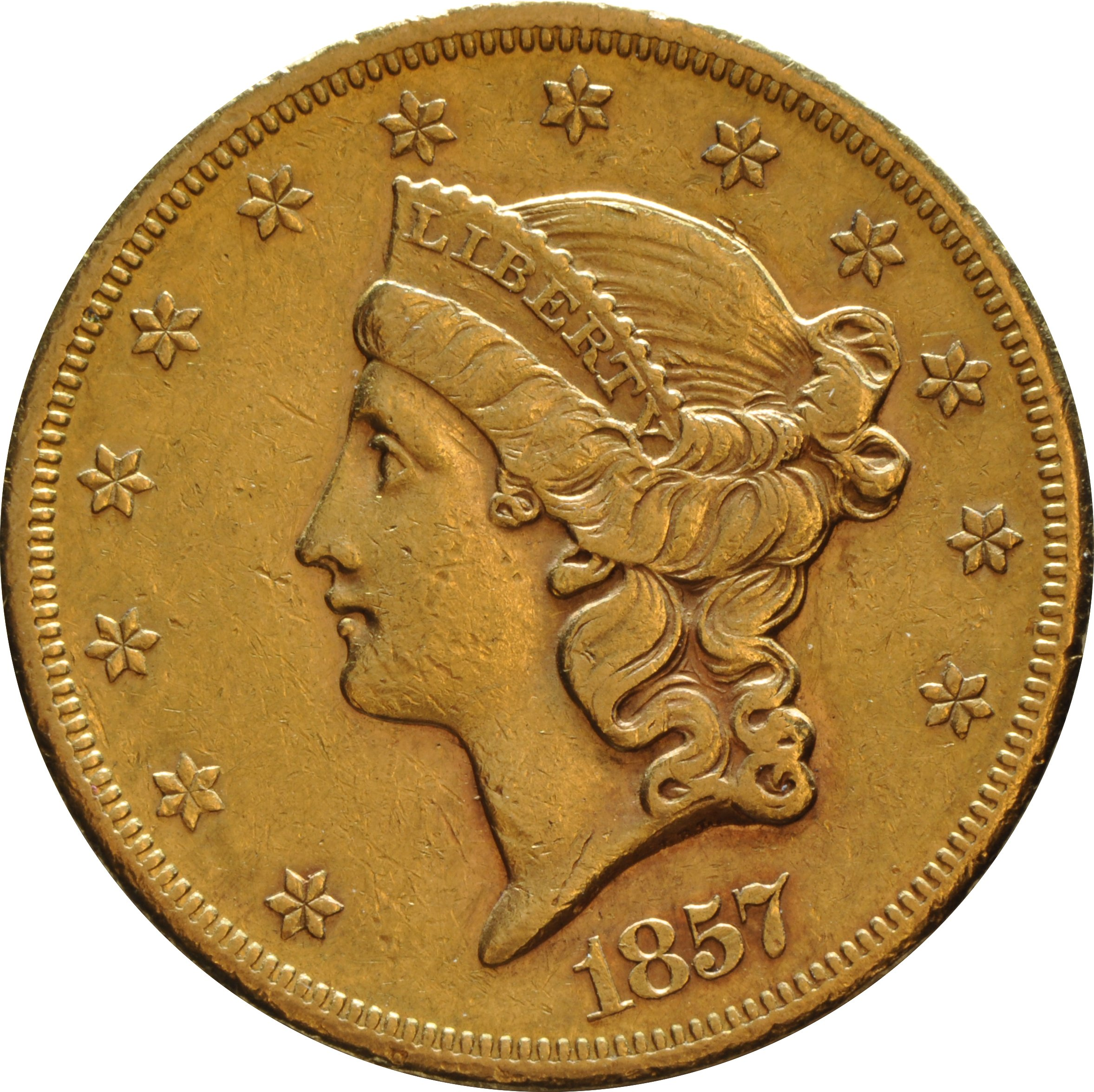 1857 20 Double Eagle Liberty Head Gold Coin San