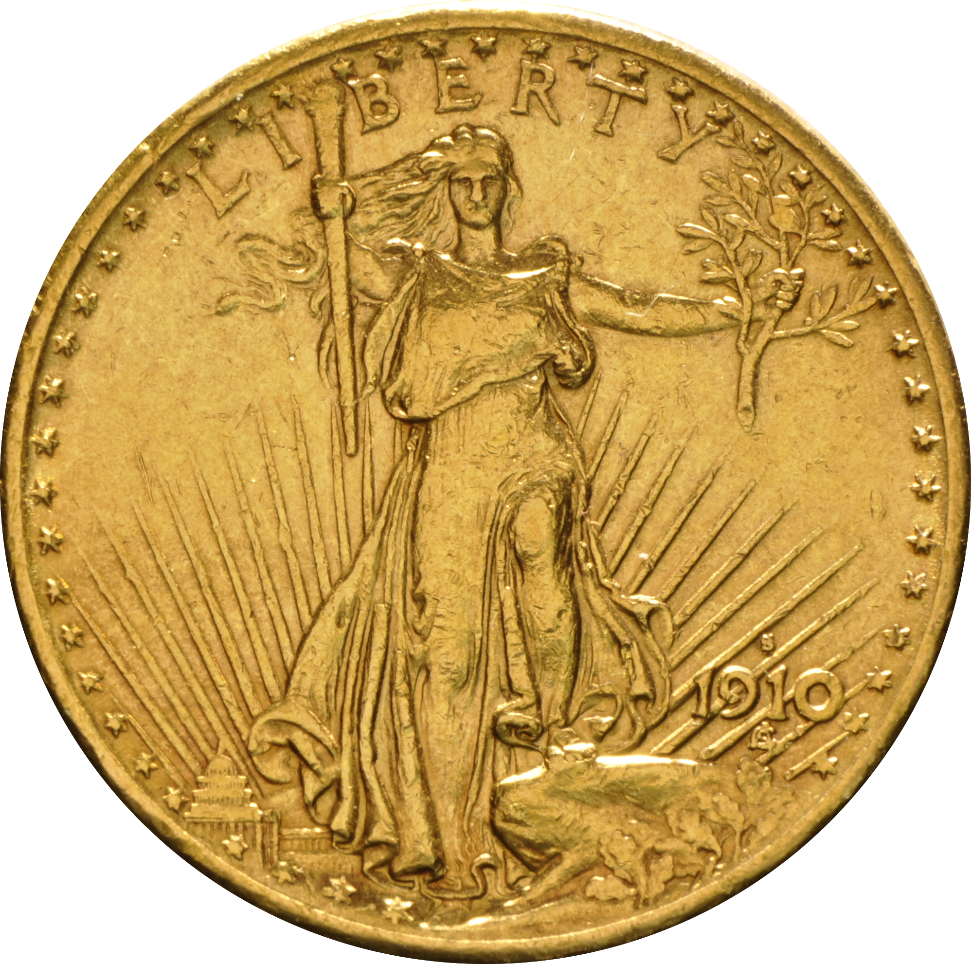 1910 20 Double Eagle St Gaudens Head Gold Coin San