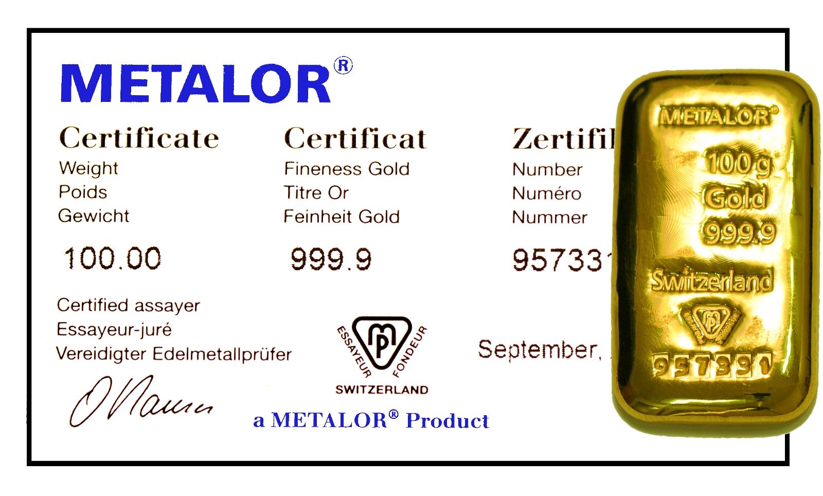 Metalor 100 Gram Gold Bar Cast