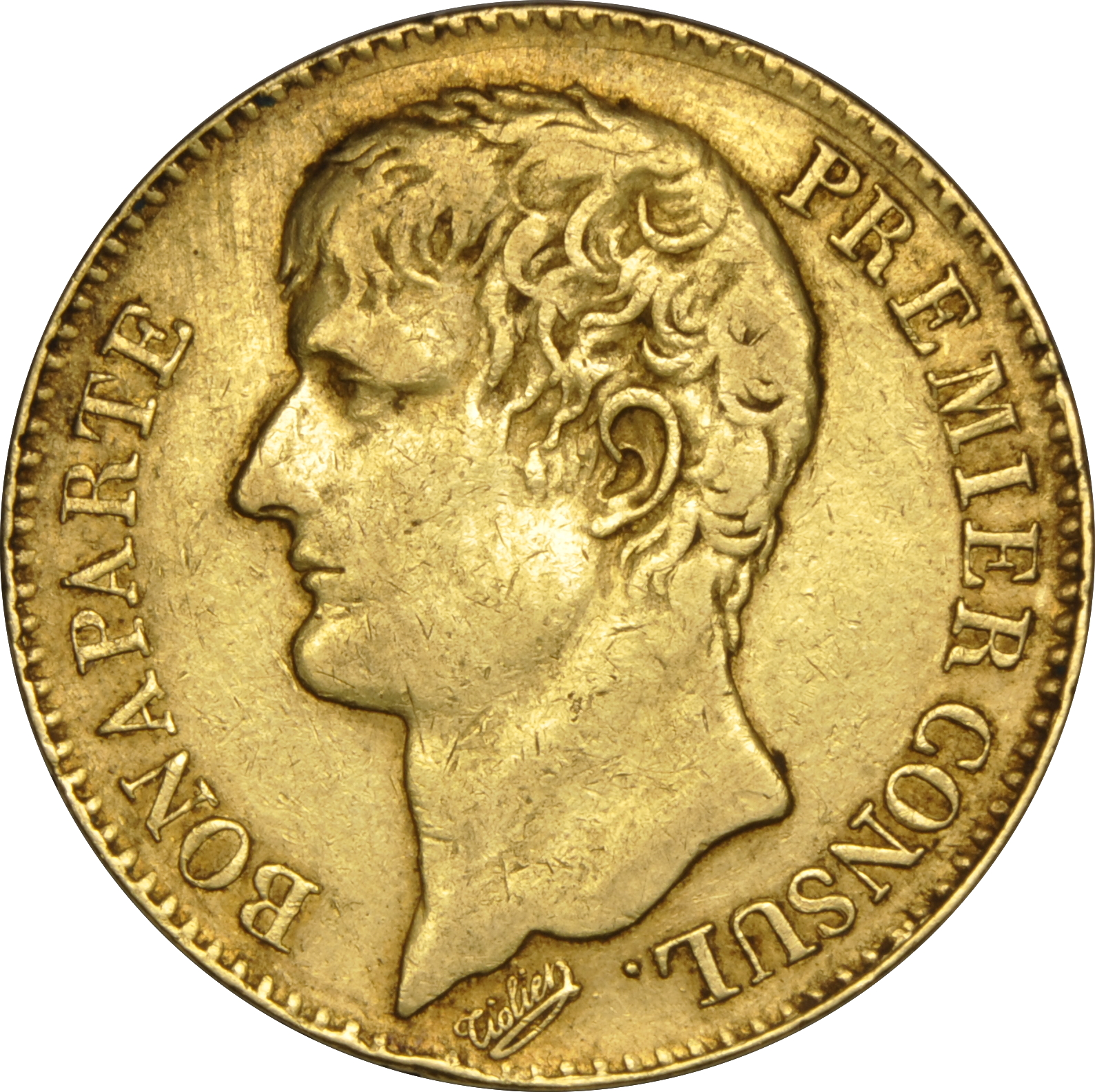 40 French Francs Napoleon First Consul Bare Head 1802 1804 An 11 12 670